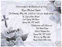 GORGEOUS! BABY BOY PEARLS & ROSES BAPTISM INVITATIONS