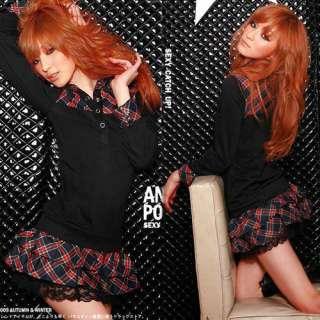 Stylish Women Muti color Shirt Collar Plaids Faux Twinset Mini Dress 2