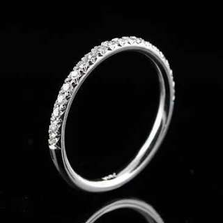 Diamond Micro Pave Half Way Band 14K White Gold 1.8 mm