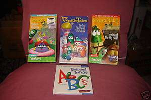 VEGGIETALES 4 VHS & 1 Book BOB AND LARRYS ABC, Jonah