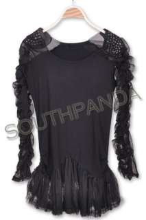 SC159 Rhinestone Black Long Sleeve Top Dress Punk Goth