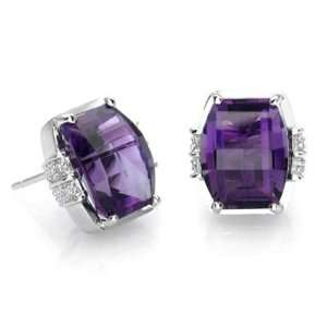18k White Gold Barrel Cut Blue Topaz and Diamond Earrings Jewelry