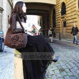 Style Chiffon Elegant Lotus Leaf Summer Long Maxi Skirt/ Dress