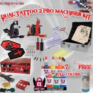 Professional Tattoo Gun Kit Dual Power Supply USA Ink Coffin Machine