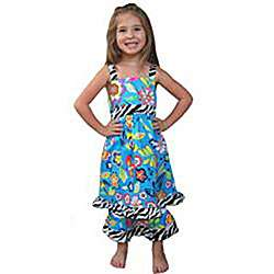 Ann Loren Girls Tropical Floral Dress and Capri Set