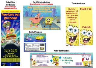 Spongebob Squarepants ~ Birthday Party Ticket Invitations, Supplies
