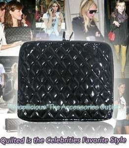 for SONY TABLET S BLACK CHIC QUILTED PATENT LEATHER CASE SLEEVE POUCH