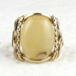 Natural Yellow Jade Gemstone Ring 14K Rolled Gold Jewelry