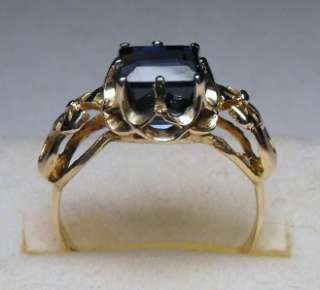 ANTIQUE ART DECO 2.68cts EMERALD CUT BLUE SAPPHIRE 14KT RING