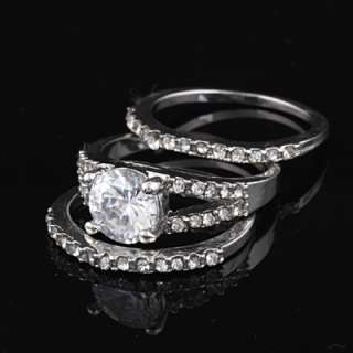 18K White Gold GP CZ Stone Swarovski Crystal Wedding Engagement Ring