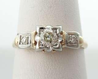 Estate 1/4ct Genuine Diamonds Solid 14k Two Tone Gold Ring