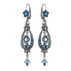 Michal Negrin Beautiful Silver Plated Dangle Earrings Decorated with