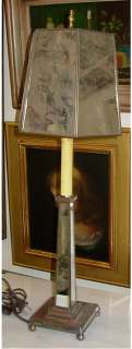 Vintage Mirrored Table Lamp Mirror Base and Shade