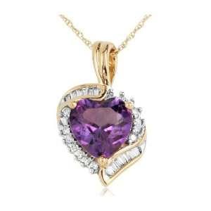 14k Yellow Gold 1.46 ctw Heart Shaped Amethyst and Diamond