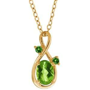 1.06 Ct Checkerboard Green Peridot and Diamond Gold Plated