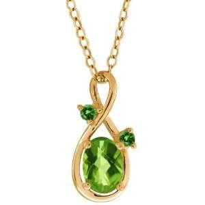 1.06 Ct Checkerboard Green Peridot and Diamond Gold Plated