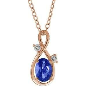 1.03 Ct Oval Sapphire Blue Mystic Topaz and Topaz 14k Rose