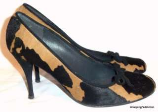 Brown Black Cow Print Pony Hair Rounded Toe Stiletto Heel Shoe