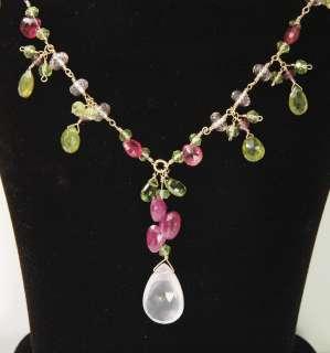 Rose Quartz Vesuvianite Peridot Pink Sapphire Necklace