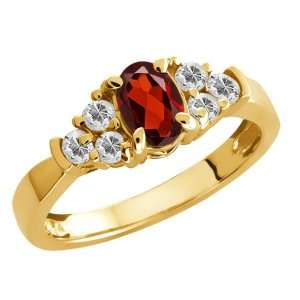 0.91 Ct Oval Red Garnet and White Topaz 18k Yellow Gold