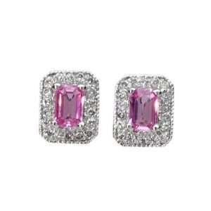 0.76 Ct Pink Sapphire & Diamond 14K White Gold Earrings