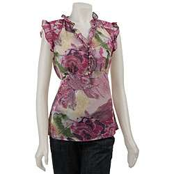 Violet & Claire Womens Cap sleeve Ruffled Blouse