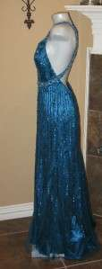 NWT NINA CANACCI Fully Sequin Blue Prom Gown Dress 12