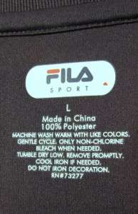 Fila Sport Perfomance Athletic T  Shirt, Men L, Charcoal Gray & Black