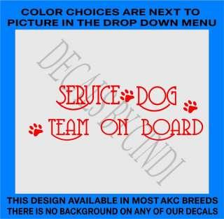 SERVICE DOG TEAM ON BOARD VINYL DECAL DOG 1441SDT