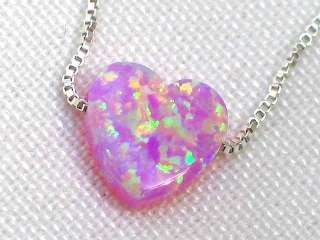 Petite Opal Pink Heart Necklace Silver 925 Chain