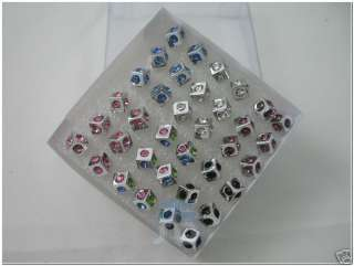 WHOLESALE LOT COLOR DICE CRYSTAL SILVER EARRINGS STUDS