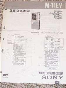 Sony M 11EV Micro Cassette Corder Player Service Manual