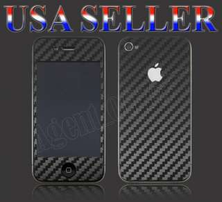 Carbon Fiber (Black) Full Body Skin Wrap For iPhone 4