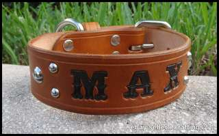 REAL Leather Personalized Dog Collar Light Russet NEW