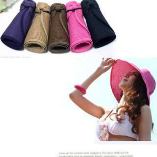 Women collapsible portable Wide Brim Summer Beach Sun Hat adumbral Hat
