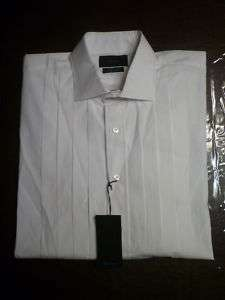 NWT FACONNABLE Mens White Tuxedo Shirt, 17L, $250