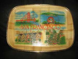 Vintage Wood Tray San Francisco Lombard St Cable Car