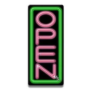 Vertical Neon Open Sign   Green Border & Pink Letters: Office Products