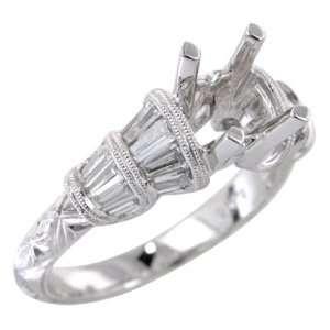 Diamond Antique Style Engagement Ring Setting 18k White Gold Jewelry