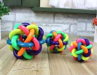 Pet Dog Cat Rainbow Color Rubber Bell Ball Toy 3 Size
