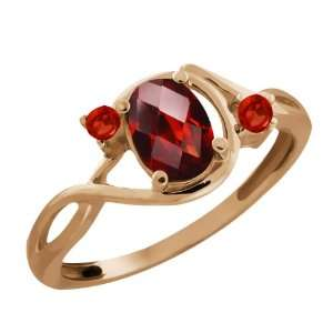 Genuine Checkerboard Red Garnet Gemstone 18k Rose Gold Ring Jewelry