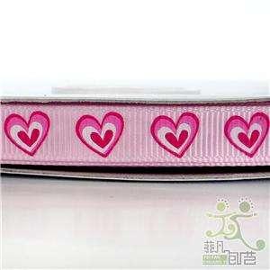 pink heart valentine grosgrain RIBBON 5 yard