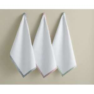 Ticking Stripe Border Dishtowels Set of 3   White