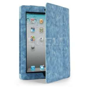 Ecell   BLUE CORDUROY LEATHER FOLIO CASE & STAND FOR iPAD