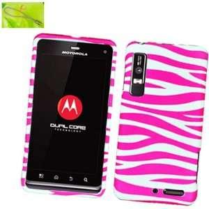 Hot Pink Zebra on White Background, Rubberized Coated Surface Hard