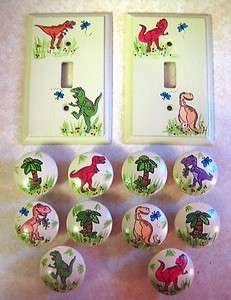 10 DINOSAURS  Hand Painted WOODEN KNOBS & SWITCH PLATES