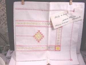 CZECH Dresser Scarf White with Pink &Yellow Embroidery  NEW 1977