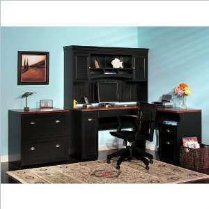 Furniture Fairview L Shaped Wood Home Office Set in Black: Furniture