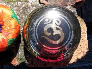 OM TIBETAN BUDDHIST SINGING BOWL & CUSHION & MALLET SET NEPAL