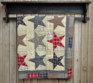 Primitive Country America Throw Stars Victorian Heart Patchwork Quilt